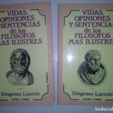 Libros de segunda mano: VIDAS, OPINIONES Y SENTENCIAS DE LOS FILÓSOFOS MÁS ILUSTRES. 2 TOMOS. Lote 142208802