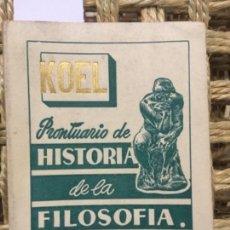 Libros de segunda mano: PRONTUARIO DE HISTORIA DE LA FILOSOFIA, CONSTANTINO LASCARIS COMNENO. Lote 145522770
