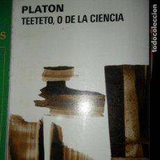 Libros de segunda mano: TEETETO, O DE LA CIENCIA, PLATÓN, ED. AGUILAR. Lote 148212154
