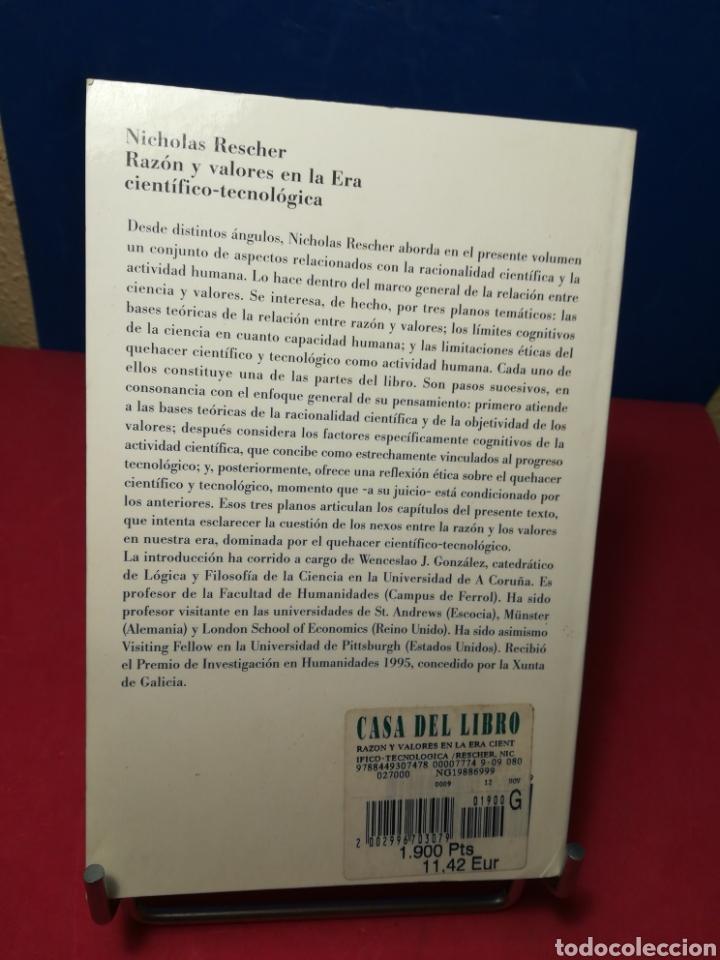 Libros de segunda mano: Razón y valores en la Era científico-tecnológica - Nicolás Rescher - Paidós, 1999 - Foto 3 - 148221962