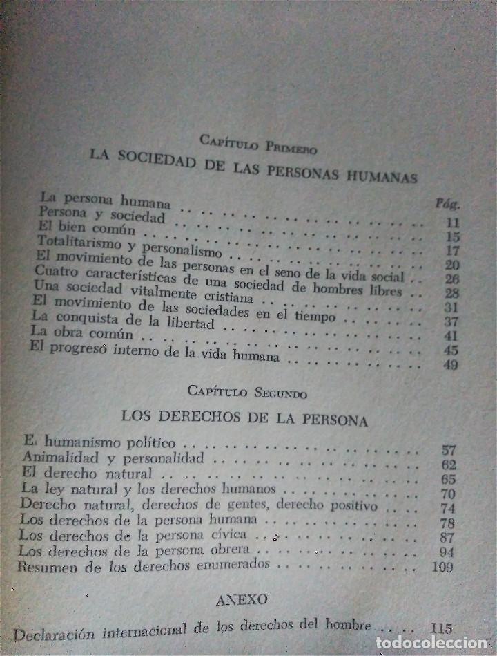 Libros de segunda mano: Los Derechos del Hombre, Maritain, 1972 - Foto 4 - 152300846