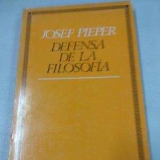 Libros de segunda mano: DEFENSA DE LA FILOSOFÍA - JOSEF PIEPER. Lote 153409366