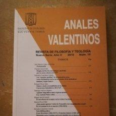 Libros de segunda mano: ANALES VALENTINOS. REVISTA DE FILOSOFÍA Y TEOLOGÍA. NUEVA SERIE AÑO V (2018) Nº 10. Lote 153665566