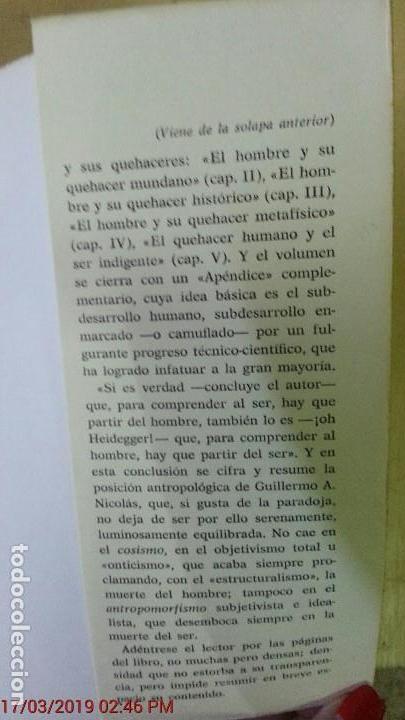 Libros de segunda mano: EL HOMBRE UN SER EN VÍAS DE REALIZACIÓN - GUILLERMO A. NICOLÁS - ED. GREDOS - AÑO 1974 - 1ªEDICIÓN - Foto 7 - 155854922