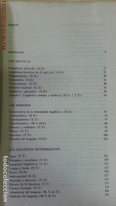 Libros de segunda mano: DICCIONARIO ENCICLOPÉDICO DE LAS CIENCIAS DEL LENGUAJE-OSWALD DUCROT-TRVETAN TODOROV-AÑO 1974 - Foto 3 - 155856290