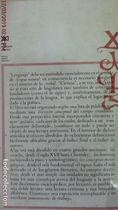 Libros de segunda mano: DICCIONARIO ENCICLOPÉDICO DE LAS CIENCIAS DEL LENGUAJE-OSWALD DUCROT-TRVETAN TODOROV-AÑO 1974 - Foto 12 - 155856290