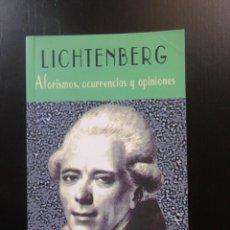 Libros de segunda mano: AFORISMOS, OCURRENCIAS Y OPINIONES - LICHTENBERG - VALDEMAR - CLUB DIÓGENES. Lote 157829966