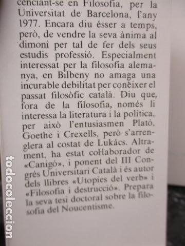 Libros de segunda mano: JOAN CREXELLS EN LA FILOSOFIA DEL NOUCENTS NORBERT BILBENY - Foto 9 - 160940894