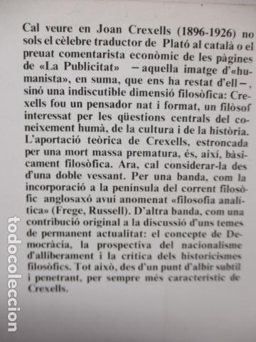 Libros de segunda mano: JOAN CREXELLS EN LA FILOSOFIA DEL NOUCENTS NORBERT BILBENY - Foto 15 - 160940894