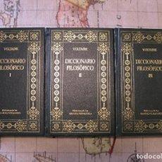 Libros de segunda mano: LOTE 3 TOMOS DICCIONARIO FILOSOFICO (COMPLETO) VOLTAIRE - BIBLIOTECA DE LOS GRANDES PENSADORES. Lote 161331866