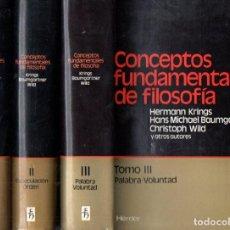 Libros de segunda mano: VS. AUTORES : CONCEPTOS FUNDAMENTALES DE FILOSOFÍA - 3 TOMOS (HERDER, 1977-78-79). Lote 162159306