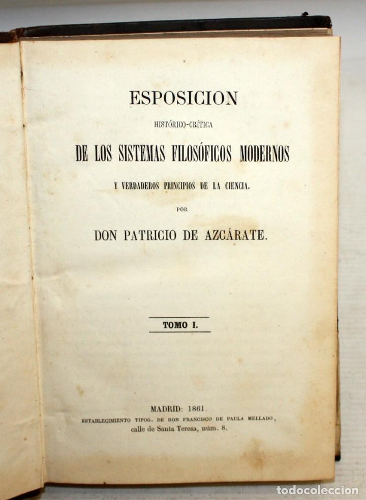 Libros de segunda mano: SISTEMAS FILOSOFICOS MODERNOS-PATRICIO AZCÁRATE-1861-4 TOMOS. - Foto 3 - 163804462