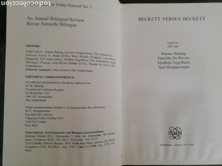 Libros de segunda mano: Beckett Versus Beckett. RAREZA. VV.AA. Rodopi, Amsterdam-Atlanta, GA 1998. - Foto 3 - 164917456