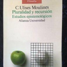 Libros de segunda mano: PLURALIDAD Y RECURSION - ESTUDIOS EPISTEMOLOGICOS - C. ULISES MOULINES - ALIANZA UNIVERSIDAD. Lote 165344488