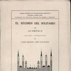 Libros de segunda mano: EL RÉGIMEN DEL SOLITARIO. EDICIÓN DE ASÍN PALACIOS (AVEMPACE. 1946) SIN USAR. Lote 167799828
