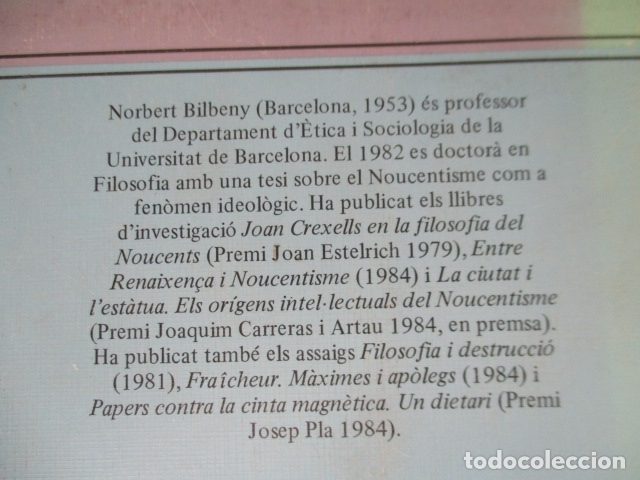 Libros de segunda mano: Filosofia contemporània a catalunya, de Norbert Bilbeny - Foto 20 - 168119876