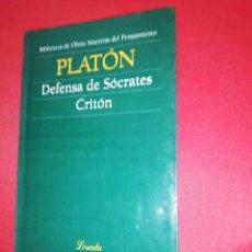 Libros de segunda mano: PLATÓN, DEFENSA DE SOCRATES, CRITON. Lote 172427859
