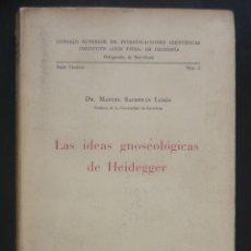 Libros de segunda mano: 1959 - LAS IDEAS GNOSEOLÓGICAS DE HEIDEGGER - DR. MANUEL SACRISTÁN LUZÓN - EXISTENCIALISMO - 1ª ED.. Lote 173673495