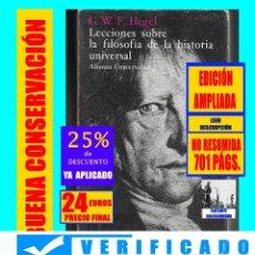 Libros de segunda mano: LECCIONES SOBRE LA FILOSOFÍA DE LA HISTORIA UNIVERSAL - G. W. F. GEORG WILHELM FRIEDRICH HEGEL - 24€. Lote 176831134