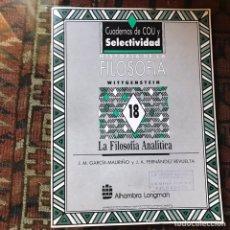 Libros de segunda mano: LA FILOSOFÍA ANALÍTICA. WITTGENSTEIN. BUEN ESTADO. Lote 178992133
