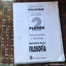 Libros de segunda mano: PLATÓN . HISTORIA DE LA FILOSOFÍA. SUBRAYADO. Lote 178992170