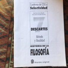 Libros de segunda mano: DESCARTES. HISTORIA DE LA FILOSOFÍA. SURAYADO. Lote 178992202