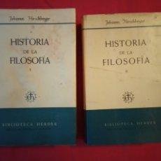 Libros de segunda mano: HISTORIA DE LA FILOSOFIA.TOMOS. I -II .BIBLIOTECA HERDER.. Lote 179126247