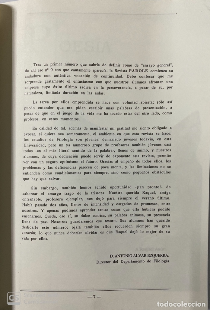 Libros de segunda mano: PAROLE. REVISTA DE CREACION LITERARIA Y DE FILOLOGIA. Nº 1. MADRID, 1988. PAGS: 202. - Foto 3 - 180339597