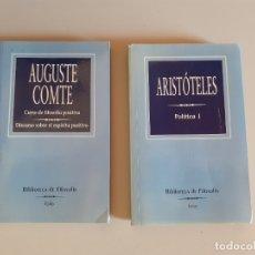Libros de segunda mano: 2 TOMOS BIBLIOTECA DE LA FILOSOFÍA EDITORIAL FOLIO- COMTE Y ARISTÓTELES. Lote 180433687