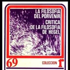Libros de segunda mano: LA FILOSOFIA DEL POVENIR. CRITICA DE LA FILOSOFIA DE HEGEL. L. FEUERBACH. 1ª EDICION 1975.. Lote 180906925