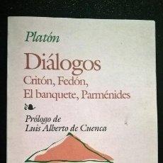 Libros de segunda mano: DIALOGOS. CRITON, FEDON, EL BANQUETE Y PARMENIDES. PLATON. . Lote 185069961