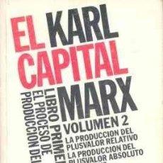 Libros de segunda mano: MARX, EL CAPITAL. LIBRO PRIMERO, VOL. 2. EL PROCESO DE PRODUCCIÓN DEL CAPITAL, SIGLO XXI, 1975. Lote 186160872