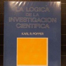 Libros de segunda mano: KARL R. POPPER - LA LÓGICA DE LA INVESTIGACIÓN CIENTÍFICA ISBN 84-309-0711-4. Lote 186258857