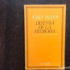 Libros de segunda mano: DEFENSA DE LA FILOSOFÍA. JOSEF PIEPER. Lote 186371526