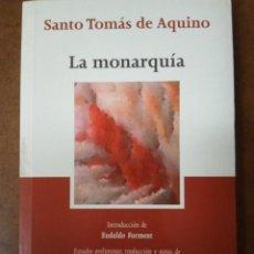 Livros em segunda mão: LA MONARQUIA (SANTO TOMAS DE AQUINO) TECNOS CLASICOS DEL PENSAMIENTO - MUY BUEN ESTADO - OFI15J. Lote 188709776