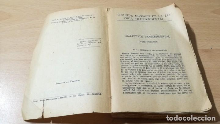 Libros de segunda mano: CRITICA DE LA RAZON PURA- ENMANUEL KANT - PROLEGOMENOS A TODA METAFISICA FUTURA - 1934 BERGUA / J - Foto 4 - 190445730