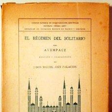 Libros de segunda mano: AVEMPACE - MIGUEL ASÍN PALACIOS - EL RÉGIMEN DEL SOLITARIO - MADRID-GRANADA 1946 - LIBRO EN ÁRABE Y. Lote 190802326