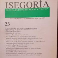 Libros de segunda mano: ISEGORIA 23 LA FILOSOFIA DESPUES DEL HOLOCAUSTO. Lote 191197802