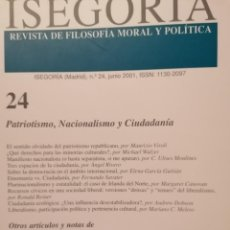 Libros de segunda mano: ISEGORIA 24 PATRIOTISMO,NACIONALISMO Y CIUDADANIA. Lote 191198112