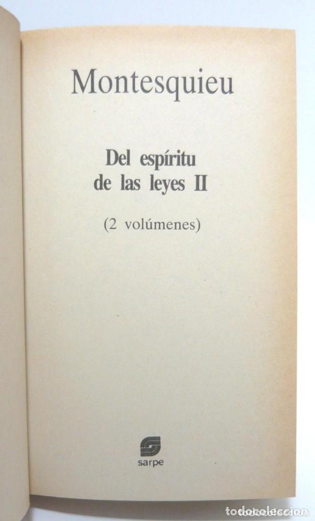 Libros de segunda mano: 1984 - Montesquieu: Del Espíritu de las Leyes - Obra Completa en 2 Tomos - Ilustración Francesa - Foto 5 - 193006207