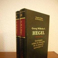 Libros de segunda mano: HEGEL: LECCIONES SOBRE LA FILOSOFÍA DE LA HISTORIA UNIVERSAL I Y II. COMPLETO (ALTAYA/ ALIANZA, 1994. Lote 194136447