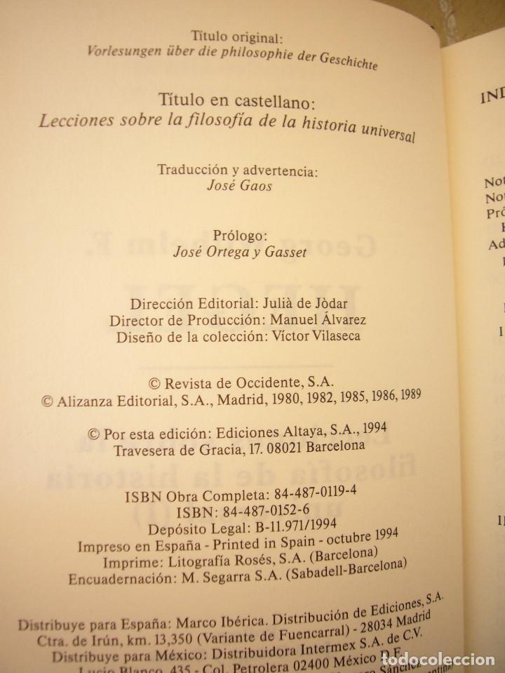 Libros de segunda mano: HEGEL: LECCIONES SOBRE LA FILOSOFÍA DE LA HISTORIA UNIVERSAL I Y II. COMPLETO (ALTAYA/ ALIANZA, 1994 - Foto 5 - 194136447