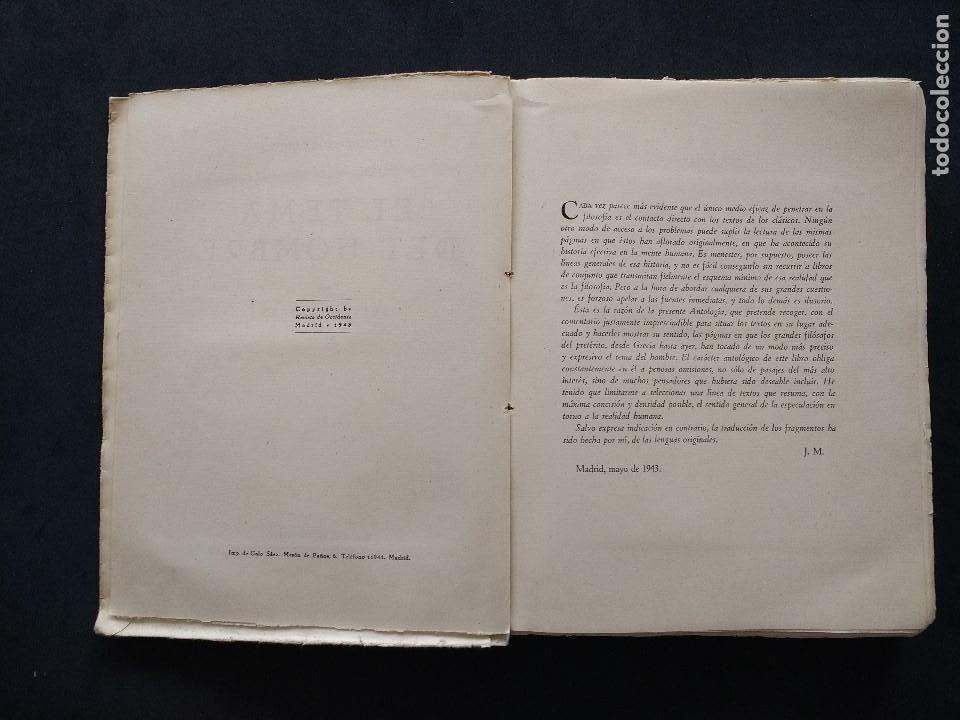 Libros de segunda mano: ANTOLOGÍAS FILOSÓFICAS I. EL TEMA DEL HOMBRE. JULIÁN MARÍAS. REV. DE OCCIDENTE. 1ª ED. MADRID, 1943. - Foto 6 - 194220338