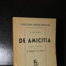Libros de segunda mano: DE AMICITIA.. Lote 194272906