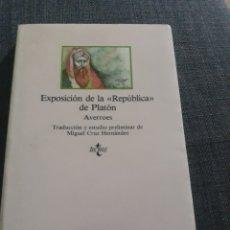 Libros de segunda mano: EXPOSICIÓN DE LA REPÚBLICA DE PLATÓN .AVERROES .. Lote 194612808