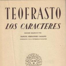 Libros de segunda mano: LOS CARACTERES MORALES / TEOFRASTO (ED. BILINGÜE). Lote 194669916