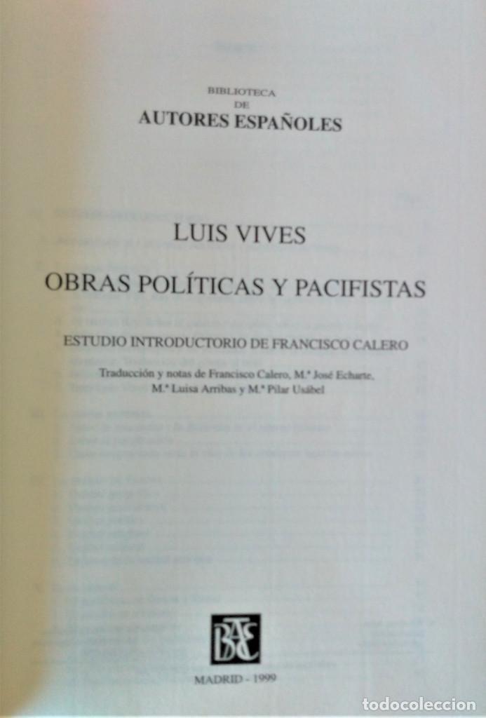 Libros de segunda mano: JUAN LUIS VIVES - OBRAS POLITICAS Y PACIFISTAS (BIBLIOTECA DE AUTORES ESPAÑOLES) - Foto 2 - 194871037