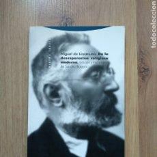 Libros de segunda mano: DE LA DESESPERACIÓN RELIGIOSA MODERNA. MIGUEL DE UNAMUNO. SANDRO BORZONI.. Lote 195014145