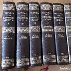 Libros de segunda mano: W.K.C. GUTHRIE: HISTORIA DE LA FILOSOFÍA GRIEGA. 6 VOLS. COMPLETO (RBA/ GREDOS, 2005). Lote 195085588