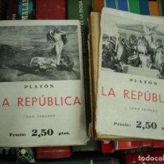 Libros de segunda mano: LA REPÚBLICA, PLATÓN. (DOS TOMOS). L.17025-178. Lote 195186251
